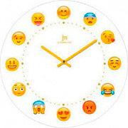 LOWELL 14873 Orologio da Parete ø 38 cm Vetro decorazione Emoticon Smile