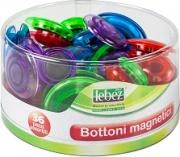 Lebez 80527 Confezione 36 Barattolo Bottoni Magnetici Fluo