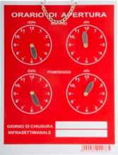 Letterfix T00278 Cartello Orario 4 Orologi Tempopol Rosso cm 16x21