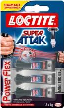 Loctite 2048632 Adesivo istantaneo Gel impermeabile Super Attak 3x1gr Flex Gel Mini Trio