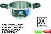 Lopardo Inox 990110 Casseruola Inox 2 Manici cm 18 per Induzione