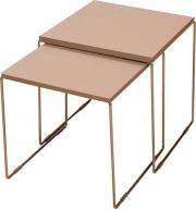 Maconi 1142 Coppia Tavolini in Legno e Metallo colore Cromo  Tortora - NewLine