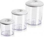 Magic Vac ACO1082 Set contenitore Recipiente cibo 3 pezzi col BiancoTrasparente