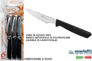 Marietti I122 Coltelli Pizza confezione 6 pezzi Manico Nero Articolo 122