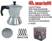 Marietti I600 Caffettiera Kicca 6 Tazze Acciaio Alluminio Induzione