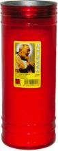 Mchr T80 SPR Cero Votivo Padre Pio Rosso Maxi cm 8 h 21