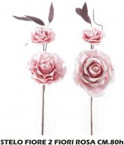 Mercury R13602 Stelo Fiore 2 Fiori Rosa cm 80h