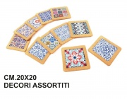 Mercury R37601 Sottopentola Ceramica con Sughero cm 20x20 Decori Assortiti
