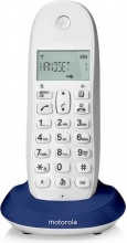 Motorola C1001L BLUE Telefono cordless DECT 50 Voci Rubrica Sveglia Blue C1001L