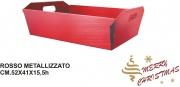Mv Tech 0515 Cestino Cartone Rosso Metalizzato cm 52x41x15.5h