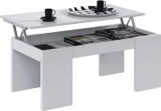NBrand 001637BO Tavolino salotto moderno 2 ripiani 43x100x50h cm Bianco