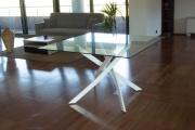 NBrand HW58593WH Tavolo Vetro  metallo 120x120x75h cm colore Bianco  Quadro