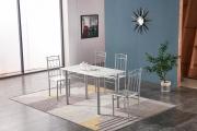 NBrand HW63082SC Tavolo da pranzo cucina 120x70x75h cm 4 Sedie 38x40x89h cm