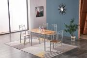 NBrand HW63082WC Tavolo da pranzo cucina 120x70x75h cm 4 Sedie 38x40x89h cm Legno HW63082W