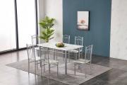 NBrand HW63083SC Tavolo da pranzo cucina 140x80x75h cm + 4 Sedie 38x40x89h cm