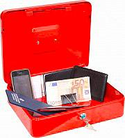 NBrand PValori Cassetta Porta Valori in Metallo con Chiave dimensioni 25 x 18 x 8 H cm