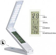 NEW MAJESTIC 120400 Lampada LED Tavolo Sveglia Ora Calendario Temperatura Snooze LL-400