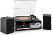 NEW MAJESTIC TT-38N BK Giradischi 33  45  78 giri CD Mp3 USB Radio FM AM Nero - TT-38N