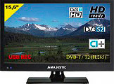 "NEW MAJESTIC TVD-215S2 TV LED 15.6"" HD Ready DVB T2 S2 12 Volt HDMI  ITA"