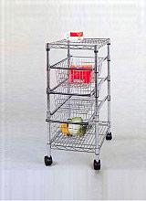 NBrand Carrello Cucina in metallo 2 ripiani 3 cesti+Ruote 36x61x76 48989 America