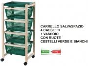 New Mottinox T922 Carrello Salvaspazio Legno Faggio Naturale colori Assortiti