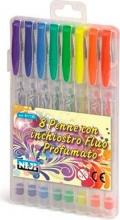 Niji 61135 Confezione 8 Penne Inchiostro Fluo Profumate