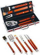 Ompagrill 05430 Set attrezzi barbecue 5 pz Acciaio Inox e Legno Dimensioni 43 cm