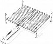 Ompagrill A 12737 Graticola Barbecue doppia con piedi in filo di ferro cromato 27x37 cm