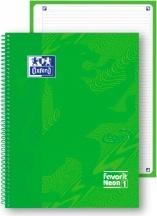 Oxford 400108139 Confezione 5 Maxi Spiralato Neon1 A4+ 1R Verde