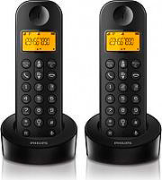 "PHILIPS Telefono Cordless DUO DECT Display 1,6"" ID chiamante Nero D1202B23"