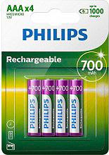 PHILIPS Batterie Ricaricabili 4 Pile Mini Stilo AAA 700mAh- R03B4A7010