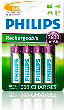 PHILIPS Batterie Ricaricabili 4 Pile Stilo AA 2600mAh- R6B4B26010