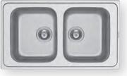 PYRAMIS 107162430 Lavello cucina 2 Vasche Incasso 86 cm Acciaio Inox  Fedra 2B
