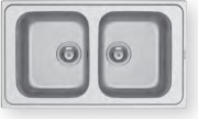 PYRAMIS 107163430 Lavello cucina 2 Vasche Incasso 86 cm Acciaio Inox  Fedra 2B