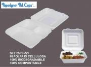 Paperlynen C036798 Contenitore 3 Scomparti Set 25 pz Polpa di Cellulosa + Cop.