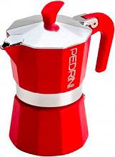 Pedrini 9121-840 Macchinetta caffé Moka 1 Tazza Aroma Color Alluminio Rosso 9121