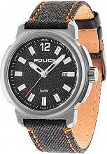 Police PL14797JSU61 Orologio Uomo Analogico al Quarzo Cinturino Pelle Denim