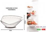 Polo Plast L402 Mini Dessert Domino confezione 50 pezzi cm 8.3x2.5h Trasparente