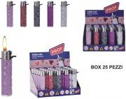 Poly Recy LY238421 Accendini Box 25 pezzi Shiny hearts Round Flint 40009579