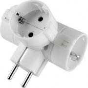 Polypool PP2350 Adattatore tripla presa e spina standard tedesco 16A 2P+T bianco