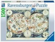 Ravensburger 16003 Mappa Del Mondo Animali 1500 Pz