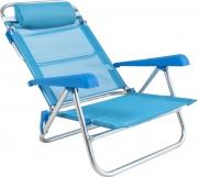 Rigamonti 2462500_Azzurro Spiaggina in alluminio con cuscino 7 posizioni Azzurro