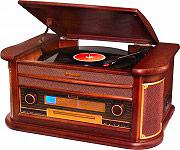 Roadstar HIF-1996BT Giradischi 334578 Giri Bluetooth CD Aux Altoparlanti Legno