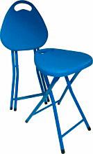 SIGLA BILLO Sgabello pieghevole in Acciaio e PVC ø cm 30x45h colore Blu