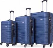 "SMARTWAY KITA9373BLUE Set 3Pz Trolley Blue Size 20"" + 24"" + 28"" Abs 4 Ruote"