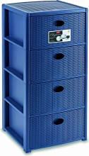 STEFANPLAST 30406 Cassettiera Plastica 4 cassetti 40x40x80 cm Blu  Elegance