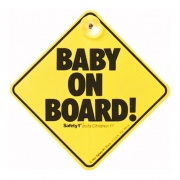 """Safety First 38000760 Cartello segnaletico PVC """" baby on board """" 12.5 x 12.5 cm"""