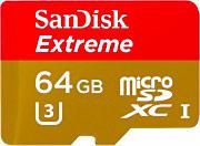 Sandisk Scheda di Memoria Micro SD XC 64 Gb Classe 10 SDSQXVF-064G-GN6MA Extreme