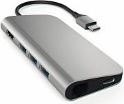 Satechi ST-TCMAM Adattatore Multiport USB con Lettore Schede e Ethernet Grigio