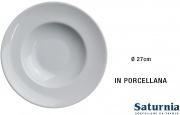Saturnia T017080 Piatto Pasta Bowl Tondo Porcellana Bianco cm 27